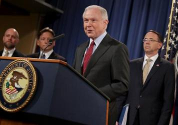 "Attorney General Jeff Sessions announces the takedown of AlphaBay, a massive darknet marketplace ""used to sell deadly illegal drugs"" and procure stolen and counterfeit goods, according to the Justice Department. He delivered the news to reporters in Washington, D.C., on Thursday."