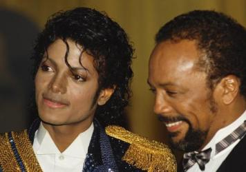"Michael Jackson and Quincy Jones at the the 26th Grammy Awards in 1984. Jones won a case against Jackson's estate this week over royalties he said had been ""disguised."""