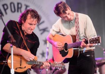 Marlon Williams (right) and bandmate Dave Khan perform at the 2017 Newport Folk Festival.