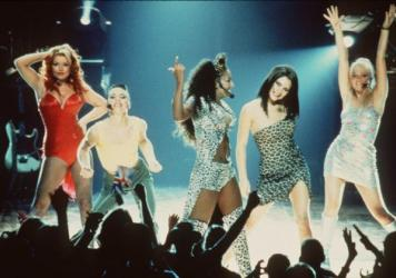 The Spice Girls in a still from their 1997 film <em>Spice World.</em>