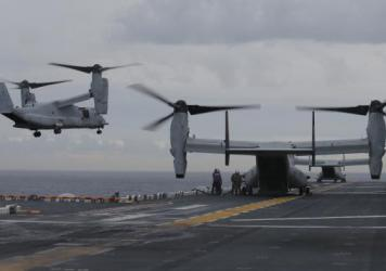 The wreckage of a U.S. Marine Osprey has been found underwater off the coast of northeast Australia. The aircraft had taken off from the USS Bonhomme Richard amphibious assault ship, seen here during exercises earlier this summer.