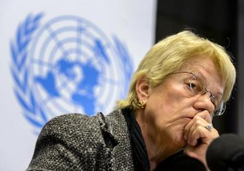 Carla Del Ponte, a former United Nations prosecutor and member of a U.N.-mandated commission of inquiry on the Syria conflict, at a 2013 press conference in Geneva.