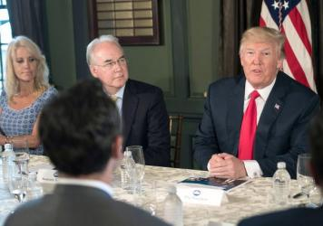 After a briefing on the opioid crisis with Health and Human Services Secretary Tom Price, President Trump remarked on the severity of the epidemic but did not declare a national emergency, as his commission on opioids had recommended.