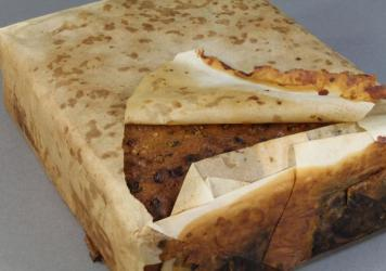 "The 106-year-old fruitcake is ""well-preserved,"" and is believed to have been taken to Antarctica with the Robert F. Scott expedition."