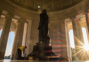 President Trump rhetorically questioned whether statues of Thomas Jefferson, one of which stands in the Jefferson Memorial in D.C., and George Washington should come down because they were slave owners.