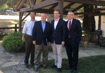 Congressmen Carlos Curbelo, R-Fla., Kevin Brady of Texas, Peter Roskam, R-Ill. and Dave Schweikert R-Ariz., stand outside Rancho del Cielo in California, where they were crafting a tax overhaul.