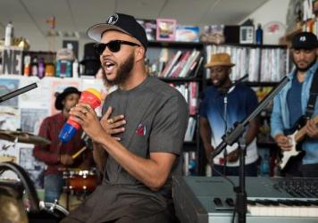 Jidenna performs a Tiny Desk Concert on July 6, 2017. (Photo: Liam James Doyle/NPR)