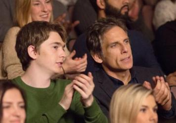 Please Clap: Troy (Austin Abrams) and father Brad (Ben Stiller) in <em>Brad's Status.</em>