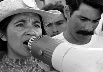 Coachella, CA: 1969.  UFW leader, Dolores Huerta, organizing marcher on 2nd day of March Coachella.