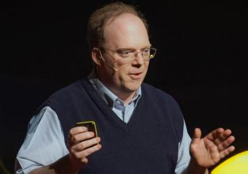 Paul Knoepfler on the TED stage.