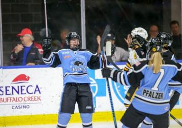 Harrison Browne, seen here playing for the Buffalo Beauts, says he feels lucky to be part of a league that accepts him and wants him to feel comfortable.