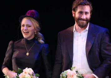 Annaleigh Ashford and Jake Gyllenhaal during the opening night performance curtain call for <em>Sunday in the Park with George</em> on Feb. 23, 2017<em>.</em>