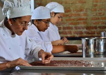 At Cacao de Origen, entrepreneurs learn to temper chocolate.