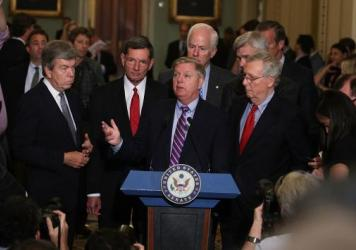 All eyes are on Sen. Lindsey Graham, R-S.C. (third from left), and his Republican colleagues as they pitch yet another Obamacare repeal-and-replace plan.