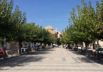 The main square of Batea, a town of about 2,000 residents in Spain's northeast region of Catalonia. The mayor opposes Sunday's independence referendum and has not given permission for voting to take place in municipal buildings.
