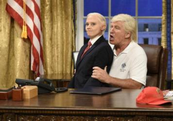 Kate McKinnon as Attorney General Jeff Sessions and Alec Baldwin as President Trump in the opening sketch of the 43rd season premiere of <em>Saturday Night Live</em>.