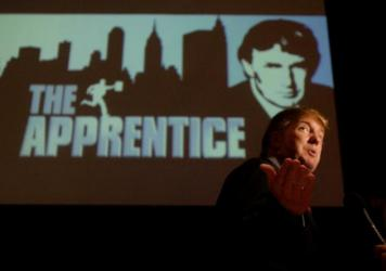 Donald Trump, seeking contestants for <em>The Apprentice</em>, is interviewed at Universal Studios in Los Angeles in 2004.