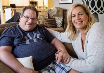 Neal Siegel and Beth Wargo, in a photo taken after Siegel's accident in a hit-and-run bicycle crash left him with a severe brain injury.