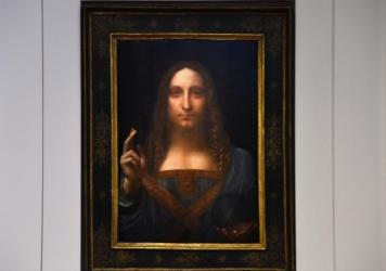 Christie's unveiled Leonardo da Vinci's <em>Salvator Mundi</em> at Christie's New York on Tuesday in New York City.