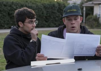The Long and Short of It: Peter (Tyler Alvarez) and Dylan (Jimmy Tatro) discuss subtle artistic differences in anatomical drawing.