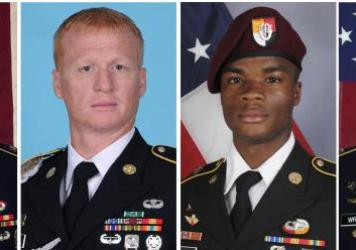 Images provided by the U.S. Army of soldiers killed in Niger show, from left, Staff Sgt. Bryan C. Black, 35, of Puyallup, Wash.; Staff Sgt. Jeremiah W. Johnson, 39, of Springboro, Ohio; Sgt. La David Johnson of Miami Gardens, Fla.; and Staff Sgt. Dustin