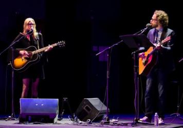 Aimee Mann performing with Jonathan Coulton on Ask Me Another.