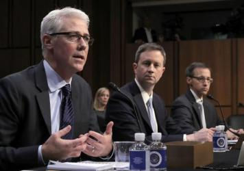 Left to right: Facebook General Counsel Colin Stretch, Twitter Acting General Counsel Sean Edgett, and Google Law Enforcement and Information Security Director Richard Salgado testify before the Senate Judiciary Committee's Crime and Terrorism Subcommittee on Tuesday, October 31, 2017.