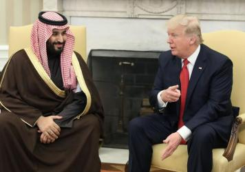Mohammed bin Salman, now Saudi Arabia's crown prince, meets with President Trump in the Oval Office on March 14. Crown Prince Mohammed is seen as the driving force behind the kingdom's aggressive campaign to counter Iran throughout the Middle East.