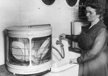 Dishwashers have come a long way since this 1921 model, which was designed mainly to help minimize the drudgery of housework. But today's sleek models are also designed with water conservation in mind.