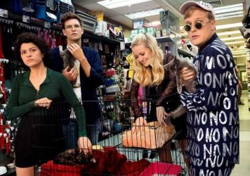 The Search is Over, The Party's Just Begun: Dory (Alia Shawkat), Drew (John Reynolds), Portia (Meredith Hagner) and Elliott (John Early) go shopping for human empathy in the TBS series <em>Search Party</em>.