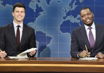 Colin Jost (left) and Michael Che ripped into Al Franken during the Weekend Update portion of <em>Saturday Night Live</em>.