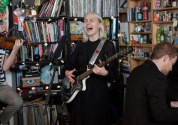 Phoebe Bridgers performs a Tiny Desk Concert on Oct. 3, 2017 (Jennifer Kerrigan/NPR).