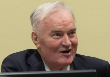 Former Bosnian military chief Ratko Mladic appears for the pronouncement of the tribunal's judgment at The Hague on Wednesday.