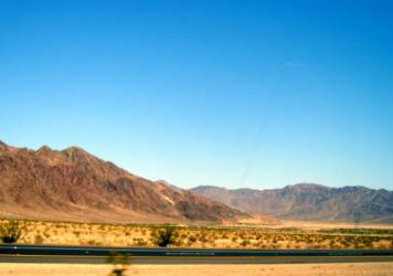 The blue sky over the Mojave Desert, untouched by the path of Mike Hughes' rocket. He had planned to launch himself in his own rocket Saturday in Amboy, Calif., but the Bureau of Land Management put up a significant hurdle to that effort.