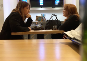 <em>The Washington Post</em> published video of reporter Stephanie McCrummen (left) speaking to Jaime Phillips, who claimed to be a source for a story about embattled politician Roy Moore. Days later, members of the paper's staff watched Phillips walk in