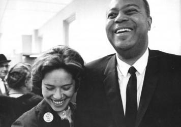 """Mary Hamilton, seen here with James A. Farmer of CORE, was a civil rights organizer who fought for the right to be addressed as """"Miss"""" in an Alabama court and won."""