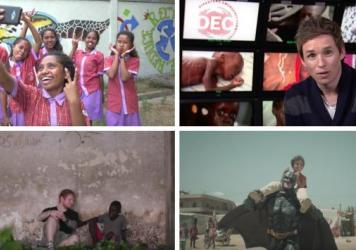 """Scenes from nominated videos (clockwise from upper left): The video """"Make No Assumptions"""" tries to figure out the best image to solicit donations; Oscar winner Eddie Redmayne asks viewers to help the suffering in Yemen; singer Ed Sheeran befriends a Libe"""
