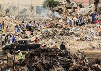A picture taken on Oct. 15 at the scene of the first explosion in the Oct. 14 Mogadishu terrorist attacks.
