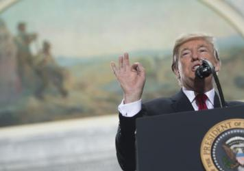 President Trump speaks prior to signing a Presidential Proclamation shrinking Bears Ears and Grand Staircase-Escalante national monuments at the Utah State Capitol in Salt Lake City.