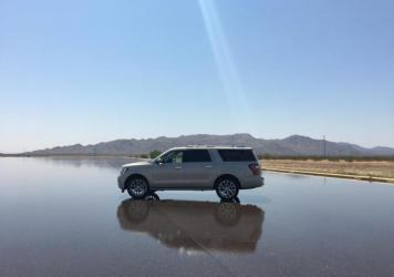A 2018 Ford Expedition being tested in Arizona Proving Grounds. (Casey Kuhn/KJZZ)
