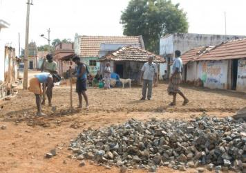 "Dalits, formerly known as ""untouchables,"" do construction work in Tamil Nadu, India. Members of the lower caste are often relegated to jobs such as construction and garbage collection."