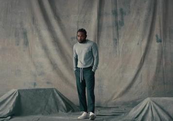 "Kendrick Lamar in the video for ""LOVE."""