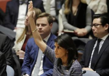 U.S. Ambassador Nikki Haley on Friday votes in favor of a U.N. Security Council resolution calling for new sanctions against North Korea, including sharply lower limits on its refined oil imports, the return home of all North Koreans working overseas within 12 months and a crackdown on the country's shipping.