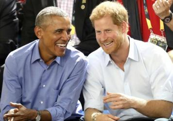 Prince Harry interviewed former President Barack Obama in a broadcast that aired Wednesday on the BBC. The interview was recorded during September's Invictus Games in Toronto, where the two are pictured here.