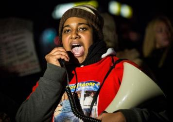 In 2014, Erica Garner led a protest march in New York City after a grand jury decided not to indict a police officer involved in the death of her father, Eric Garner.