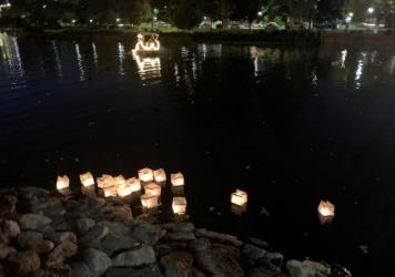 During a vigil this month for people who died while homeless in Los Angeles in 2019, organizers floated candlelit lanterns on Echo Park Lake.