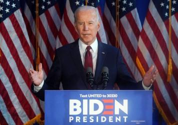 Former Vice President and Democratic presidential candidate Joe Biden delivers a foreign policy statement on Iran at Chelsea Piers in New York on Tuesday.