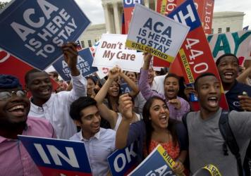 Student demonstrators cheered in 2015 outside the Supreme Court after learning that the high court had upheld the Affordable Care Act as law of the land. But Republican foes of the federal health law are still working to have it struck down.