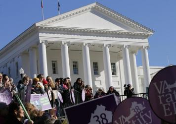 Equal Rights Amendment supporters demonstrate outside the Virginia State Capitol in Richmond on Wednesday, when the 2020 session of the Virginia Legislature began. So far, 37 states have ratified the amendment, and Virginia may soon join them.