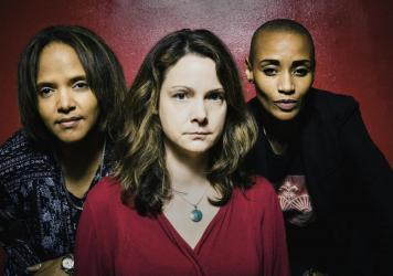 <em>Diatom Ribbons</em>, by Kris Davis (center) was selected as the No. 1 jazz album of 2019 in a poll of 140 critics. Davis' album includes contributions from a wide range of musicians, including Terri Lyne Carrington (left) and Val Jeanty (right).
